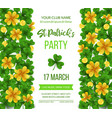 saint patrick s day poster with green four and vector image vector image