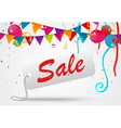 Sale banner celebration background with confetti vector image vector image