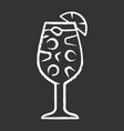 sangria chalk icon footed glass with drink pieces vector image