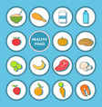 set of healthy food icons in flat style vector image