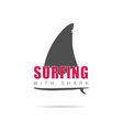 surfing with shark icon in color vector image vector image