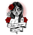 tattoo girl monochrome version vector image vector image