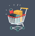trolley full products in supermarket vector image vector image