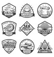 vintage monochrome marine animals labels set vector image vector image