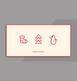 Winter holidays greeting card with line icons