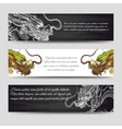 Horizontal banners set with chinese dragons vector image