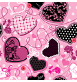 Pink and black Hearts - seamless pattern vector image