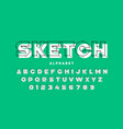 3d style sketchy font alphabet letters and numbers vector image