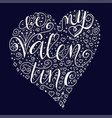 Be my valentine quote on dark blue background