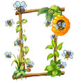 bee on wooden frame vector image