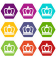 britain crown icons set 9 vector image vector image
