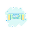 cartoon colored sold ribbon icon in comic style vector image vector image