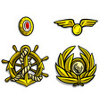 cartoon golden army badges for peaked caps vector image