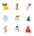 Christmas icons set cartoon style vector image vector image