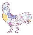 Cock with gradient flowers isolated vector image vector image