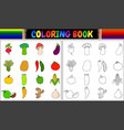 coloring book with fresh vegetables cartoon vector image vector image