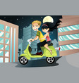 couple riding motorcycle vector image