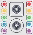 diaphragm icon Aperture sign Symbols on the Round vector image vector image