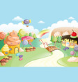 fantasy sweet food land vector image
