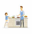 father and daughter cooking - cartoon people vector image