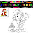 firefighter coloring book vector image