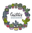 frame with hand drawn cactus in sketch style vector image vector image
