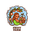 girl farmer with a basket of fruit vector image