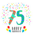 happy birthday for 75 year party invitation card vector image vector image