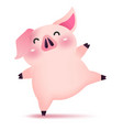 happy piggy dancing character for chinese new year vector image