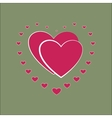 Heart small around two pink heard card vector image vector image