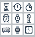 isolated clocks icons set vector image