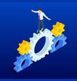 isometric businessmen running in gears wheels the vector image