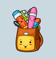 kawaii school backpack with cute education vector image vector image