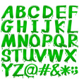 Letters of the alphabet in a melting green vector image vector image