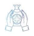 line hands with bag dotation with heart and cross vector image vector image