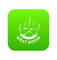 meat house eco icon green vector image