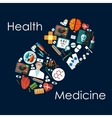 Medical flat icons arranged into a pill vector image