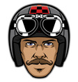 motorcycle rider with mustache and wearing vintage vector image vector image