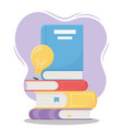 online education pile books with light bulb