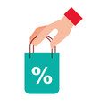 online shopping bag in hand discount vector image vector image