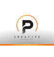 p letter logo design with black orange color cool vector image vector image