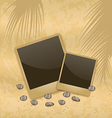 Photo card on sand background old style vector image vector image