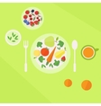 Plate with vegetables fruits and glass of juice on vector image