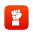 raised up clenched male fist icon digital red vector image vector image