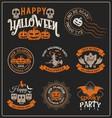 set halloween badge label and frames design vector image