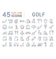 set line icons golf vector image vector image