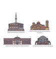 set line isolated historical macedonia building vector image