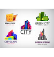 set multicolored real estate logo vector image vector image