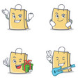 Set of bag character with successful smirking gift vector image