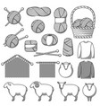 set wool items goods for hand made knitting vector image